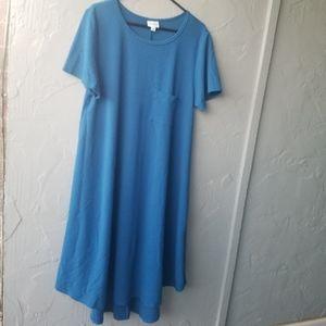 Lularoe blue solid carly dress 2X